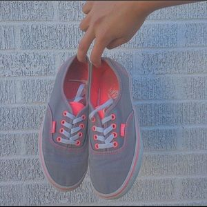 Gray and pink lace up vans women's 6.5 men's 5